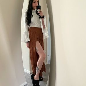 Camel shorts with long pants overlay